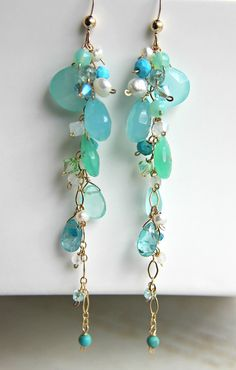 Aqua Green Gemstone Dangle Earrings Long by BellaAnelaJewelry, $56.00