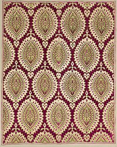 Cover or hanging, red velvet ground, with pattern in white silk, gold thread and green velvet] 17th century  silk, gold thread velvet
