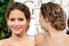 Jennifer Lawrence - her hair - a maze ing! Cabelo Jennifer Lawrence, Jennifer Lawrence Haircut, Messy Bun Hairstyles, Summer Hairstyles, Wedding Hairstyles, Bun Updo, Messy Updo, Short Curly Hair, Curly Hair Styles