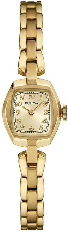 Bulova Classic Womens Tonneau Gold-Tone Stainless Steel Bracelet Watch 97L155