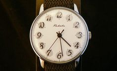 Vintage white Raketa watch perfect condition by GAALcollection