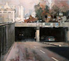 Hacia plaza España - Oleo sobre lienzo (65 x 73 cm.), Ricardo Urrejola Watercolor Landscape Paintings, Watercolor Art, Canvas Paintings, Urban Painting, Urban Landscape, Exterior Paint, Urban Art, Images, Gallery