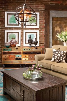 If you love the look of weathered and distressed furniture, the Rudy accent chest is the ideal addition to your living room, entryway or other space. The drawers feature various sizes, styles, hardware and finishes for a fun, crafty feel. Plus, there's plenty of storage space to keep your personal items organized.