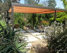 Hollywood Hills Modern Steel and Wood Pergola