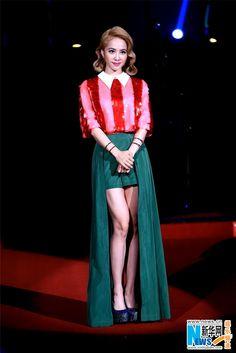 Singer Jolin Tsai attends new album release on November 2, 2014 in Taipei, Taiwan