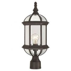 """Illuminate your patio, courtyard, or veranda in rustic-chic style with this eye-catching post lantern in textured black, masterfully crafted for artful allure and lasting appeal.    Product: Post lanternConstruction Material: Metal and glassColor: Textured blackFeatures: Eco-friendlyAccommodates: (1) 100 Watt A19 incandescent - not includedDimensions: 19.25"""" H x 8"""" WNote: Suitable for outdoor use only"""