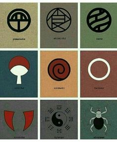 Yamanaka Clan, Akimichi Clan, Nara Clan, Uchiha Clan, Uzumaki Clan, Haruno Clan, Inuzuka Clan, Hyuuga Clan, Aburame Clan, text, crests, symbols, emblems; Naruto