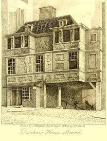 Built aft the Great Fire The Gate House of Durham House on the south side of the Strand survived until 1807 – From a sketch made by Nathaniel Smith London Art, Old London, London Street, Victorian London, Vintage London, 19th Century London, 17th Century, London Drawing, The Great Fire