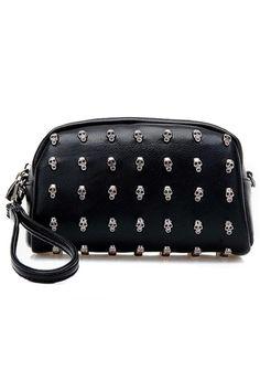 Punk Studded Skull Black Clutch   OASAP