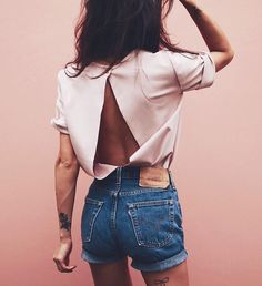 How To Wear Denim Shorts Street Style Best Ideas Street Style Outfits, Looks Street Style, Mode Style, Style Me, Summer Outfits, Cute Outfits, Dress Outfits, Look Retro, Look Girl