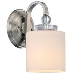 Quoizel Downtown 1 Light Tall Wall Sconce With Glass Cylinder Shade Brushed Nickel Indoor Lighting Bathroom Fixtures
