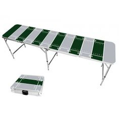 Gray & Green Football Field 8 Foot Portable Folding Tailgate Beer Pong Table from TailgateGiant.com