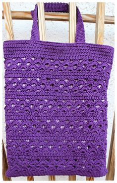 The purple cotton yarn has been in my wool box for a long time. I wanted an M ., The purple cotton yarn has been in my wool box for a long time. I wanted to test a shell pattern and used this yarn for this. Mochila Crochet, Knitting Patterns, Crochet Patterns, Crochet Clutch, Crochet World, Knitted Bags, Lining Fabric, Crochet Projects, Purple