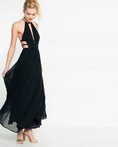 strappy plunge maxi dress