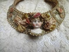 Vintage Handmade Lace Necklace With RIBBON WORK by bronnie17