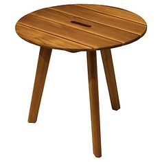 Round Teak Side Table, Natural $139
