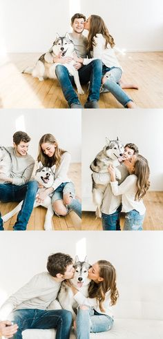 Engagement Pictures with Dogs - Couples session in bright white studio, engagem. - Engagement Pictures with Dogs – Couples session in bright white studio, engagement photos with d - Dog Engagement Pictures, Vintage Engagement Photos, Urban Engagement Photos, Winter Engagement Photos, Maternity Pictures, Couple Maternity, Casual Maternity, Beach Engagement, Casual Engagement Outfit