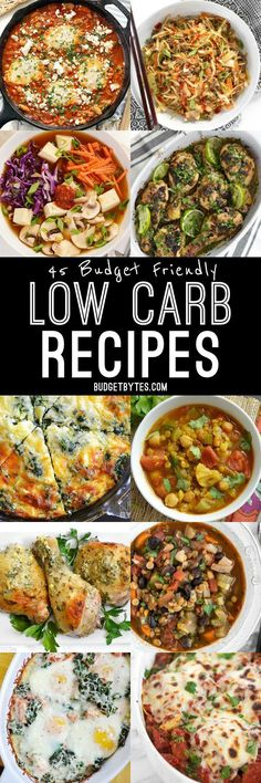 There's no pasta, rice, or potatoes in these 45 Budget Friendly Low Carb Recipes that will leave you happy, healthy, and full. @budgetbytes
