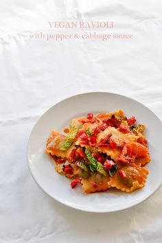 Vegan Ravioli with Tomato and Pepper Sauce