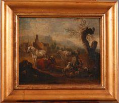 Ross, Philipp Peter (1655/57-1706)    (Pferd, Kühe und Schafherde mit Hirte in italienischer  Landschaft), Öl/Lwd., auf Holz aufgezogen, gerahmt, ca.  25x30 cm    Anbieter  Badisches Auktionshaus    Saalauktion  Ausruf:  3000.00EUR