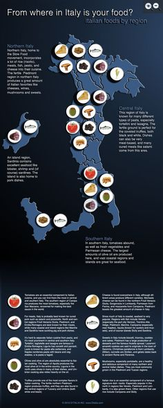 I love Italian food!  This is a really handy chart.  I think I will enjoy central Italy the most, seeing as it's known for pasta!