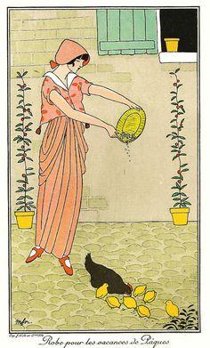 1914, Parisian farmgirl fashions, 'mfn', pochoir print