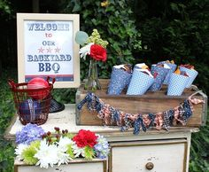 With Memorial Day fast-approaching, you may be scavenging for last minute decoration ideas to make your backyard barbecue festive and fun. 4. Juli Party, 4th Of July Party, Fourth Of July, Patriotic Party, Bbq Decorations, Memorial Day Decorations, Barbecue Party, Party Stations, Backyard Bbq