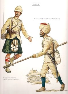 "Captain 2nd Battalion Argyll & Sutherland Highlanders & Gunner 6th(Bombay) Mountain Artillery Battery c.1898. A Colour plate from ""The Frontier Ablaze"""