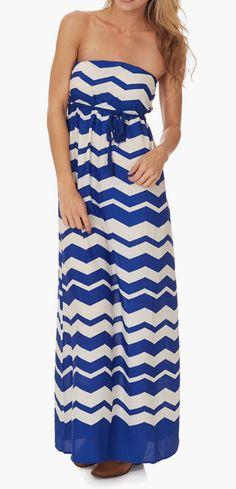 Blue & White Zigzag Strapless Maxi Dress