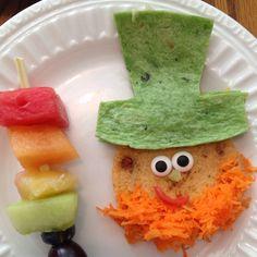 St. Patricks Day food: Leprechaun quesadilla and rainbow fruit