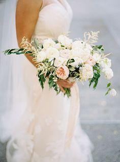 Organic Bouquet with Roses, Dusty Miller, and Olive Greens | Brides.com