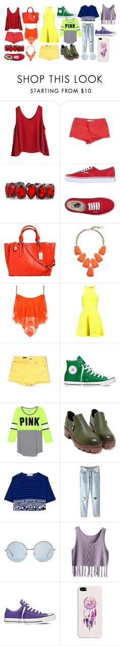 """Colorful Stylings"" by stylesbysophia ❤ liked on Polyvore featuring WithChic, Topshop, Vans, Coach, Kendra Scott, WearAll, Elizabeth and James, KUT from the Kloth, Converse and Emilio Pucci"