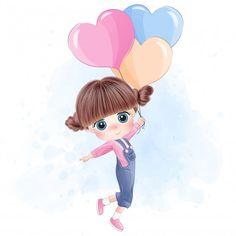 Cute Cartoon Girl, Cute Love Cartoons, Cartoon Art, Girly Drawings, Disney Drawings, Cute Cartoon Wallpapers, Pretty Wallpapers, Its A Girl Balloons, Girl With Balloon