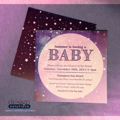 Baby Girl Shower Invitations. Custom designs and more affordable then DYI websites. Get a quote! - FB/SLMDesignSolutions  #Babyshower #Invitations #BabyGirl #Pink #Purple #Stars #Unisex #SquareInvites #Square