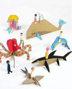 DIY Peg Dolls with Cardboard Sea Creatures: Check out the other animal and vehicle templates too! Great Tutorial for the Peg Dolls and Free Printable Templates From Mr Printables. Cardboard Animals, Paper Animals, Diy Cardboard, Cardboard Playhouse, Cardboard Furniture, Playhouse Furniture, Kids Crafts, Projects For Kids, Diy For Kids
