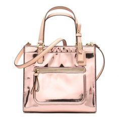 The Poppy Mini Box Tote In Mirror Metallic Leather from Coach