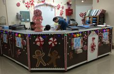 Nursing station holiday decorating. Our little Gingerbread House
