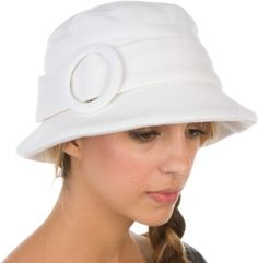 Sakkas Womens Wool Blend Foldable Cloche Bucket Winter Hat with Buckle Accent $16.99
