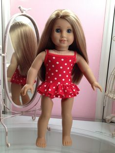e477fc1c4a American Made One-piece double ruffled Swimsuit to fit 18 inch doll