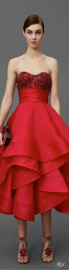 Pre-Fall 2016 Marchesa red off shoulder dress women fashion outfit clothing style apparel @roressclothes closet ideas
