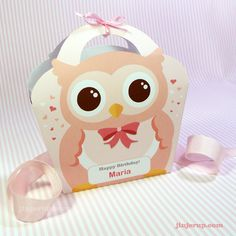 Kawaii Owl Giftbag Cute Valentine's Day Easter Love Birthday Party Treat basket Owl Bag Packaging Editable Printable PDF. $2.50, via Etsy.