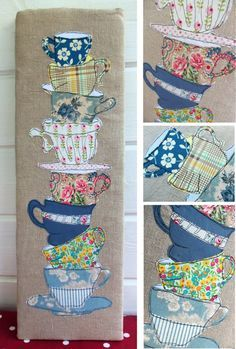 Tea Cups Freestyle Machine Embroidery pdf pattern by BustleandSew, $4.50