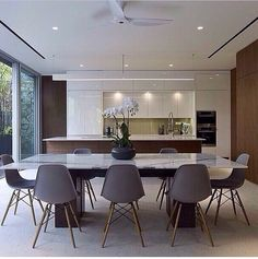 Espaço Gourmet Dining Area, Dining Chairs, Dining Room, Dining Table, Open Plan Kitchen Living Room, Kitchen Dining, Loft Design, Built Ins, Decoration