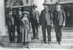 L-R: Ferdinand Clark (Nanticoke), Ephraim Lincoln Harman (Nanticoke), Gladys Lola Tantaquidgeon (Mohegan), William Russell Clark (Nanticoke), Warren Wright (Nanticoke), Isaac Johnson (Nanticoke) – 1922