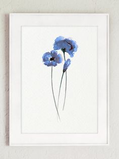 Sapphire Blue poppies Set of 3 Watercolor by ColorWatercolor