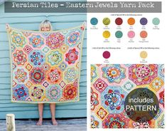 Persian Tiles - Eastern Jewels Blanket Yarn Pack - WITH PATTERN The original design of this blanket by Jane Crowfoot is called Persian Tiles and has Crochet Quilt, Crochet Blocks, Knit Crochet, Tile Patterns, Crochet Patterns, Crochet Ideas, Blanket Yarn, Crochet Blankets, Crochet Afghans