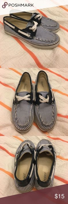 Dexter Striped Boat Shoes These are very adorable and nautical shoes! They are navy and white striped with a navy border at the top. In excellent condition but could used spot cleaned. Size 5. Dexter Shoes Flats & Loafers