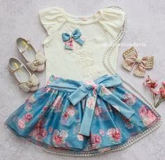 Cute Little Girl Dresses, Little Girl Outfits, Kids Outfits, Girls Dresses, Cute Outfits, Skirt Images, Baby Gown, Girl Doll Clothes, Matching Outfits