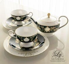 Coffee Cups, Tea Cups, Goth Home Decor, China Tea Sets, Black Coffee, Tea Time, Tea Party, Tableware, Kitchenware