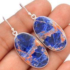 Orange Sodalite 925 Sterling Silver Earrings Jewelry SE133818 | eBay